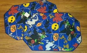 Vintage Halloween Fabric Placemats Witch Pumpkin Ghost 2-Piece Set Quilted NOS