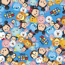 """Tsum Tsum Packed Characters Logo Blue Disney 100% cotton 43"""" Fabric by the bolt"""
