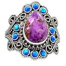 Varichite In Purpurite, Fire Opal 925 Sterling Silver Ring Jewelry s.7 RR25840