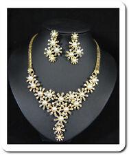 Schmuck Set Collier Halskette Ohrstecker Strass Perlen Imität Blumen  Vergoldet