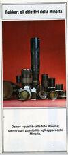 Minolta fotocamere reflex 35mm catalogo obiettivi Rokkor anni '70 italiano
