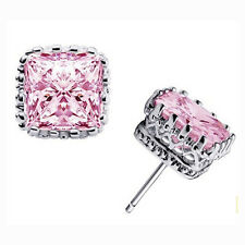 7mm  White Gold Filled Square Crown Clear Pink CZ Big Stud Earrings