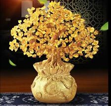 1Money Wealth Bag Feng Shui Lucky Tree Natural Yellow Citrine Crystal Tree