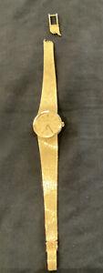 1975 Ladies Solid 9ct Gold Omega Dress Watch On Mesh Bracelet Broken