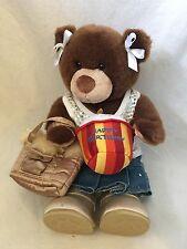 """15"""" Build A Bear Girl Teddy Bear Brwn Fur w/Denim Skirt/Sequins,Boots,Purse"""