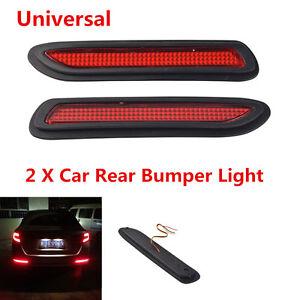 2x Car SUV Red Lens LED Bumper Tail Light Brake Fog Warning Light Anti-collision