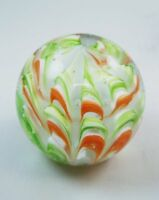 M Design Art Glass Red & Green Scalloped Wavy Paperweight PW-606 [Kitchen]