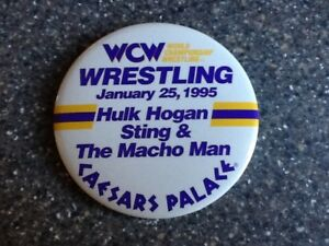 Original Hulk Hogan Sting Macho Man 1995 WCW Wrestling Caesars Palace Pin Button