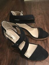 CHARLES by Charles David Navy Blue Strap Cork Wedges -  US Wmns 7/5