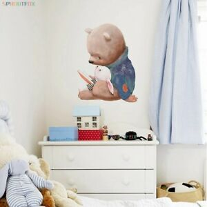 Cute Bear with Little Bunny Wall Stickers Living Room Home Bedroom Mural Decals