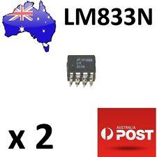 2Pcs LM833N Dual Audio Op Amp 8-DIP Low Noise (Arduino/PIC) AU Stock