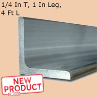 Aluminum Angle 1/4 Inch x 1 Inch x 4 Ft Length Alloy 6061 90° Stock Unpolished