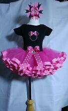 Minnie Mouse personalized Outfit -Top, Ribbon trim Tutu & Bow clip ~12-18 Months