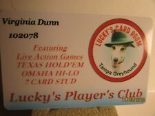 Tampa Greyhound-Lucky's Card Room -Tampa , Fl.- Players Club Card- mint