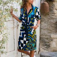 Long Sleeve Shirt Dress Casual Women Loose Tops Stylish Blouse Fashion Buttons