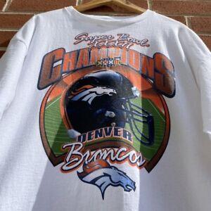Denver Broncos T-Shirt Vintage 1998 NFL Starter Super Bowl White Fan Gift Tee