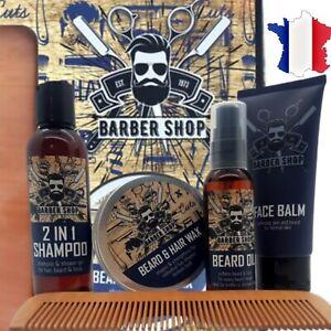 Kit Complet Entretien Soin Barbe Homme Savon Huile Brosse Peigne Baume