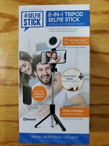 ReTrak Selfie Stick 2-in1 Tripod Led RIng Light & Wireless Remote Portable NEW