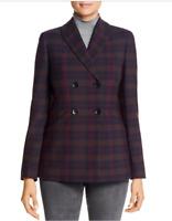 Elie Tahari Womens Sz 2 Launie Plaid Business Double-Breasted Blazer Jacket