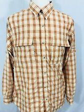 COLUMBIA Titanium Mens Long Sleeve Vented Fishing Shirt XL Omni Dry Orange Plaid