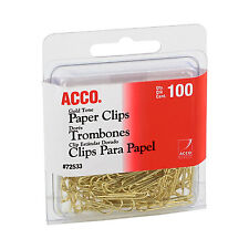 """ACCO Paper Clips, Wire, No. 2, 1-1/8"""", Gold Tone, 100/box"""