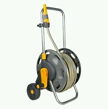 Hose Reel Cart 50m Wheeled Free Standing Water Pipe Garden Trolley Hand Crank