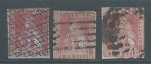 TUSCANY 1852 SG7/9 group 1c - 2 thin - 1 heavy postmark.