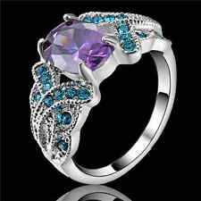 Amethyst &blue Engagement Ring white Rhodium Plated Wedding Band Size 9