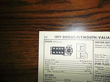 1971 Dodge Plymouth Valiant 230 HP 318 CI V8 SUN Tune Up Chart Great Condition!