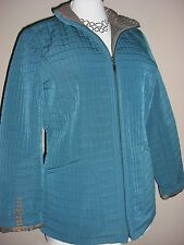 NWT GALLERY Women's Quilted Teal / Brown Coat Jacket Sz M