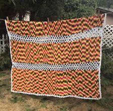 Vtg Ivory Green Orange Handmade Crochet Afghan Knitted Blanket Unique Rasta
