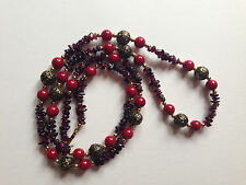 MINT 1950s Gemsitone Red Coral Amethyst & Feligree Gold Beads Necklace