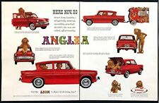 "1960 English Ford Anglia Sedan photo ""Direct From London"" 2-page promo print ad"