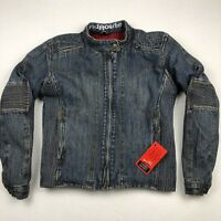 NEW Red Route London Women's Denim Motorcycle Jacket Removable Pads • Size 10
