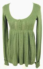 NWT Hollister Sweater M Womens Juniors Green Cotton Rabbit Hair Tunic Top