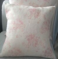 Peony and Sage Cushion Cover  in  Millie Linen Fabric Pink Shabby Chic