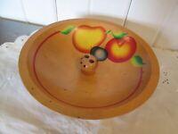 "Vintage Hand Painted Fruit Wood Bowl Nuts Cracker Pick Holder 8 1/2"" Diameter"