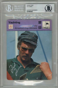 TED TURNER SIGNED #49-19 SPORTSCASTER CARD AMERICAS CUP ENCAPSULATED BECKETT BAS