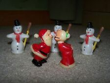 "Vintage 2"" Hard Plastic Kissing Santa & Mrs Claus Figurines!!  Fairy Garden!"