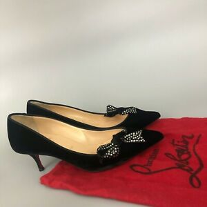 Christian Louboutin Black Velvet Crystal Bow Kitten Pump Evening Shoe Size 37.5