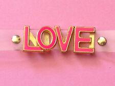 Rosie Fox Clear Strap Cuff Bracelet with Pink 'LOVE' Text
