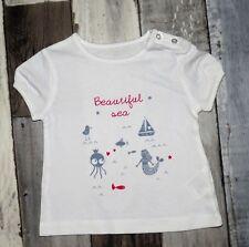 "~ Tee-shirt MC blanc imprimé KIABI Taille 3 mois ~ ""beautiful sea"""