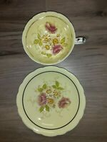 Paragon Tea Cup and Saucer Bone China Footed Flowers Yellow Floral