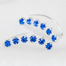 Ear Climber Earrings Blue Crystal Rhinestones Set In 925 Sterling Silver