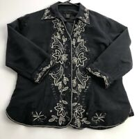 Silkland Women's ¾ Sleeve Button Up Jacket Medium Black Gold Floral Embroidered