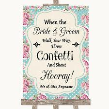Vintage Shabby Chic Rose Confetti Personalised Wedding Sign