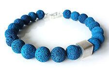 A Sign *Calla* Lava Halskette/Kette Würfel gebürstet 20 mm Blau/Türkis/Silber