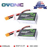 2pcs1300mAh 11.1V 50C 3S Lipo Battery XT60 Plug For ZMR 250 Vortex 285 FPV Drone