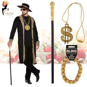 Black Pimp Costume Fancy Dress Party Mens Adult Gangster Outfit Pimp Stick