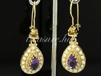 CE263- BREATHTAKING Genuine 9ct SOLID Gold Natural Amethyst & Pearl Earrings